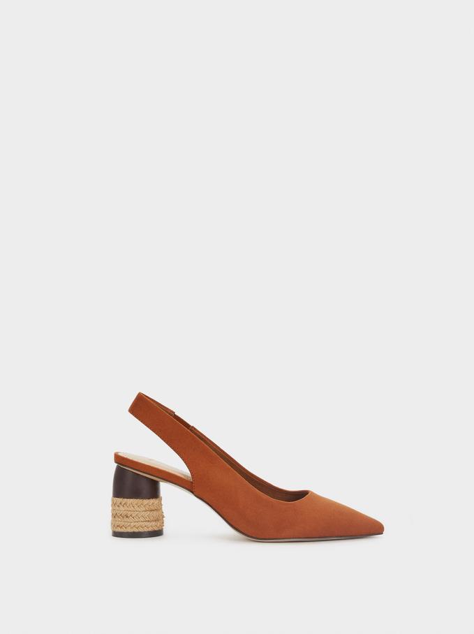 Chaussures À Talon Midi Texture Daim, Marron Clair, hi-res