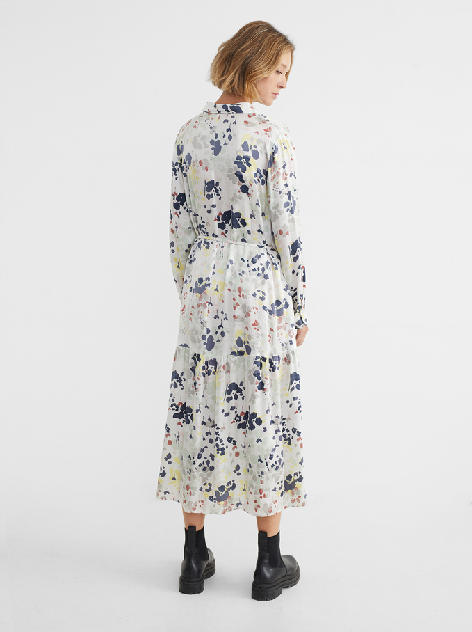 Floral Print Long Sleeve Dress, White, hi-res