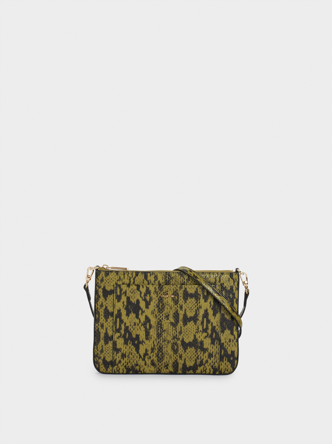 Crossbody Bag With Embossed Animal Print, Khaki, hi-res
