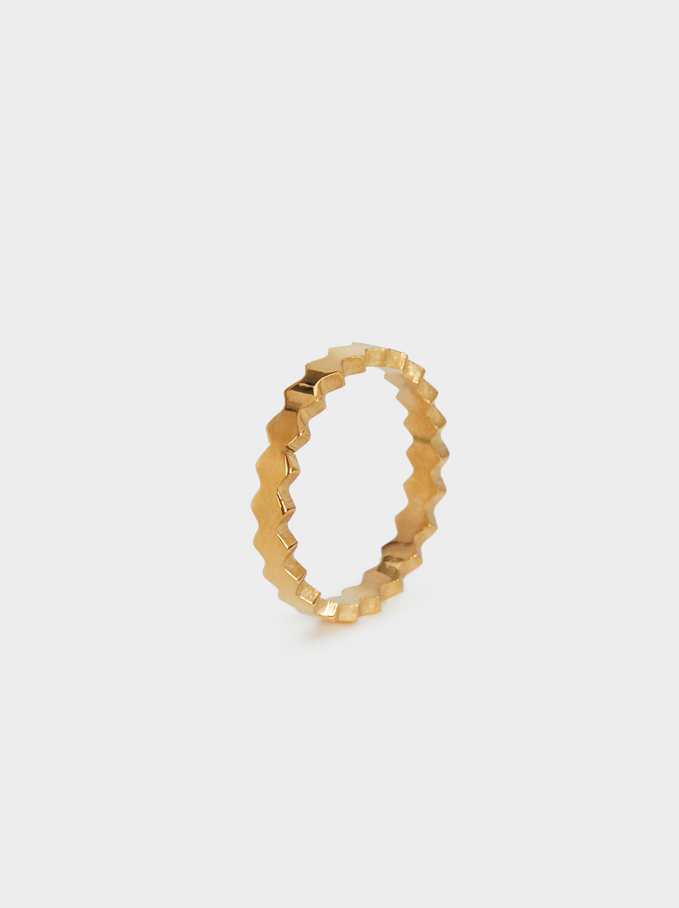 Steel Ring With Diamond Shapes, Golden, hi-res