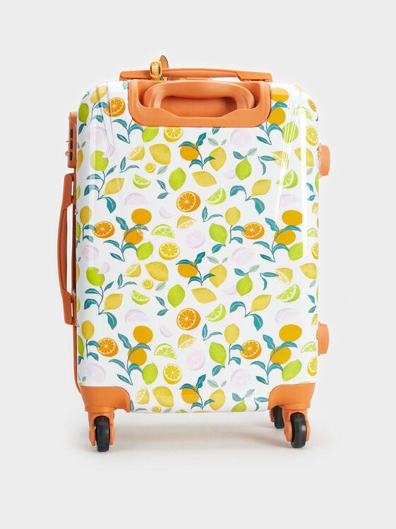 Fruit Print Trolley Suitcase, Orange, hi-res
