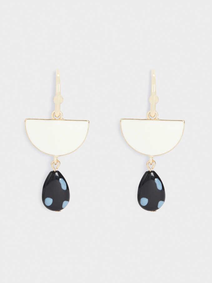 Large Enamel Hoop Earrings, Multicolor, hi-res