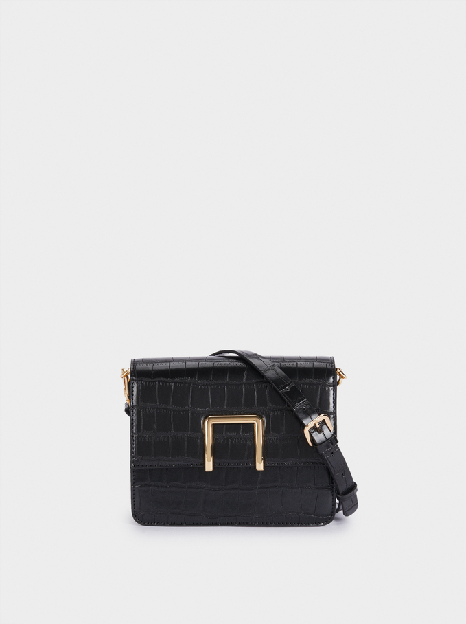 Embossed Crossbody Bag With Removable Strap, Black, hi-res