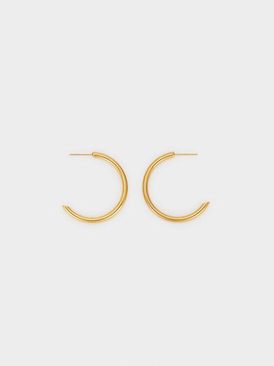Medium Steel Hoop Earrings, , hi-res