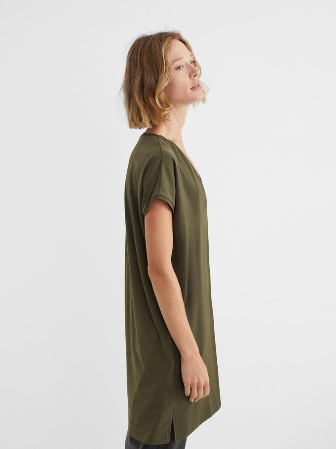 Vestito Oversize Scollo A V, Khaki, hi-res