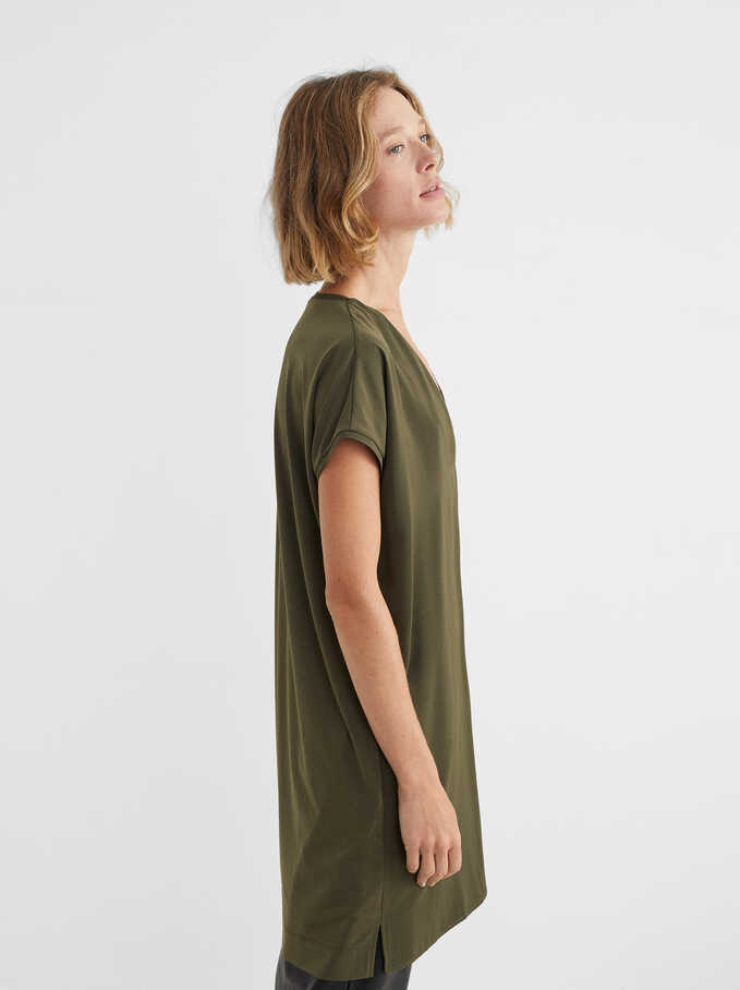 Oversize V-Neck Dress, Khaki, hi-res