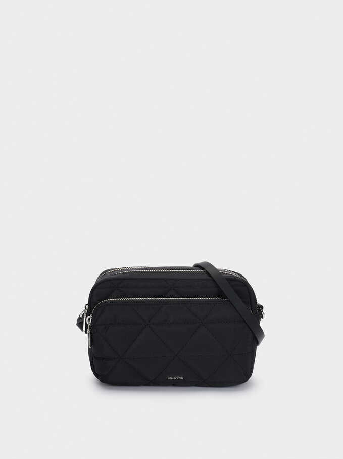 Nylon Quilted Crossbody Bag, Black, hi-res