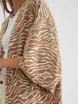 Kimono Oversize Estampado, Marrón, hi-res