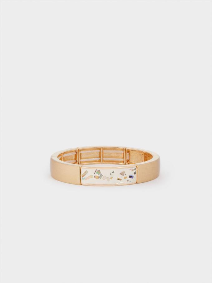 Bracelet Élastique Avec Cristaux, Beige, hi-res