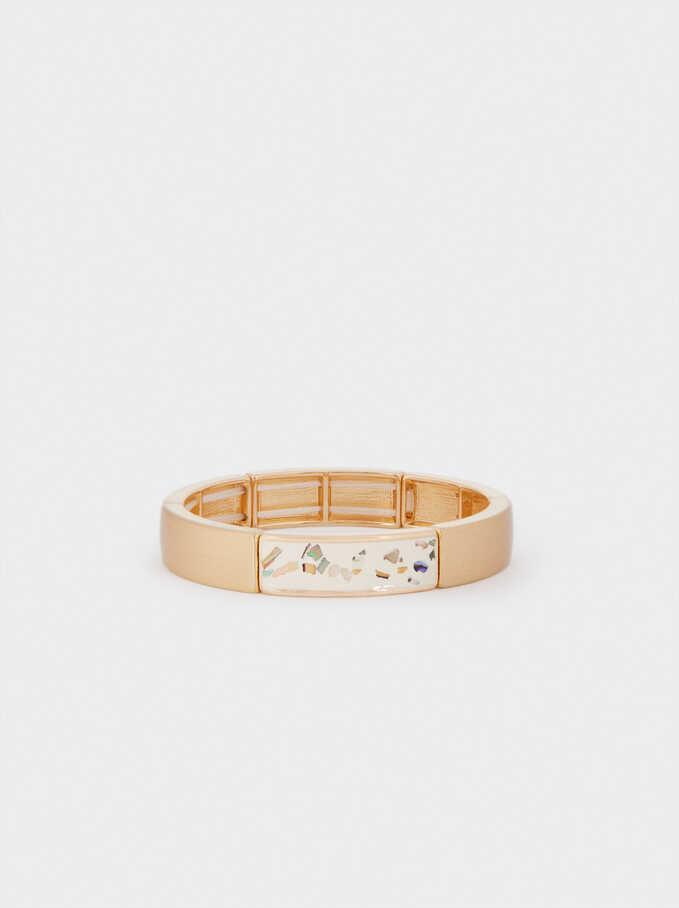 Elastic Bracelet With Crystals, Beige, hi-res