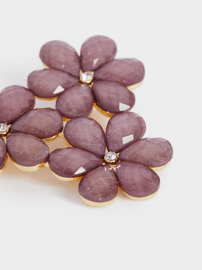 Floral Brooch With Crystals, Violet, hi-res