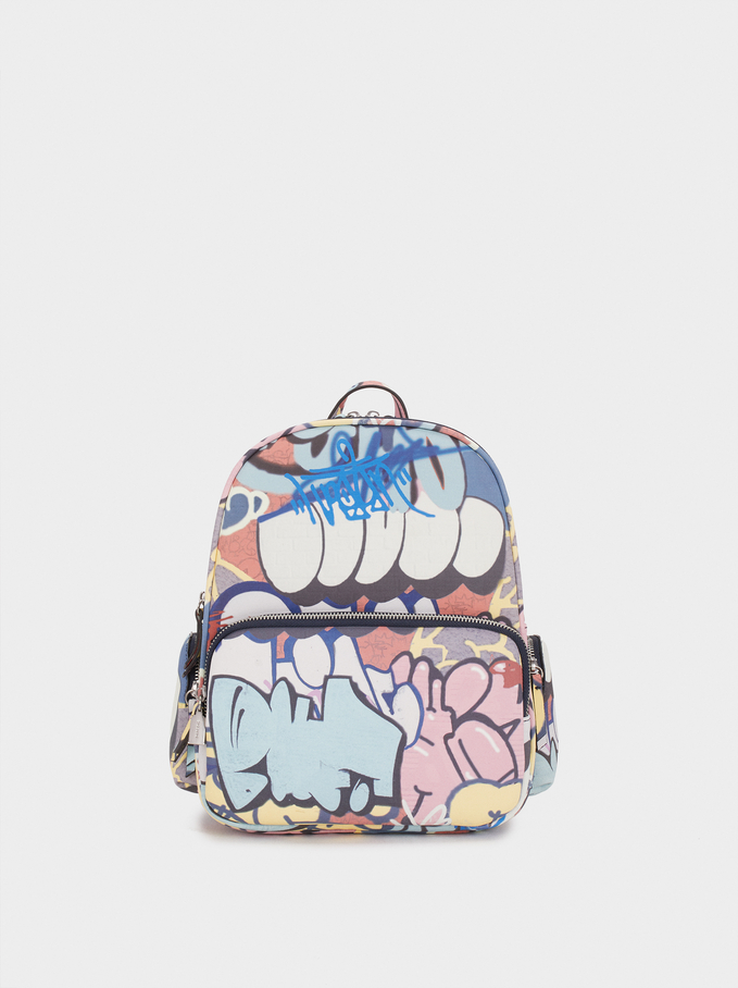 Graffiti Print Backpack, Blue, hi-res