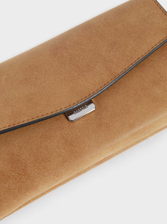 Long Purse With Front Flap Fastening, Camel, hi-res