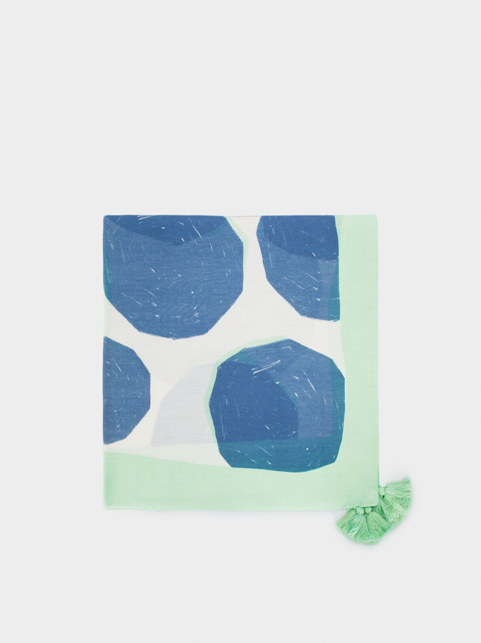 Printed Scarf With Pompoms, Blue, hi-res