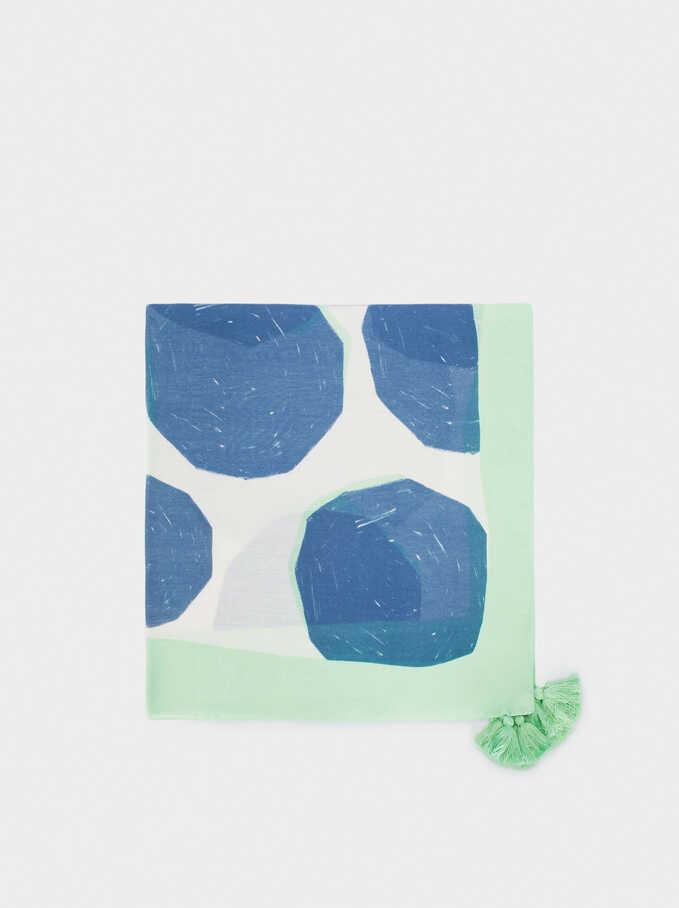 Foulard Imprimé Avec Pompons, Bleu, hi-res