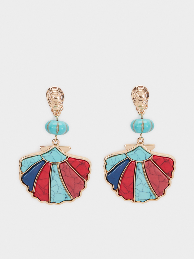 Long Shell Earrings, Multicolor, hi-res