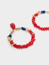 Boucles D'Oreilles Longues Recife Avec Perles Fantaisie, Multicolore, hi-res