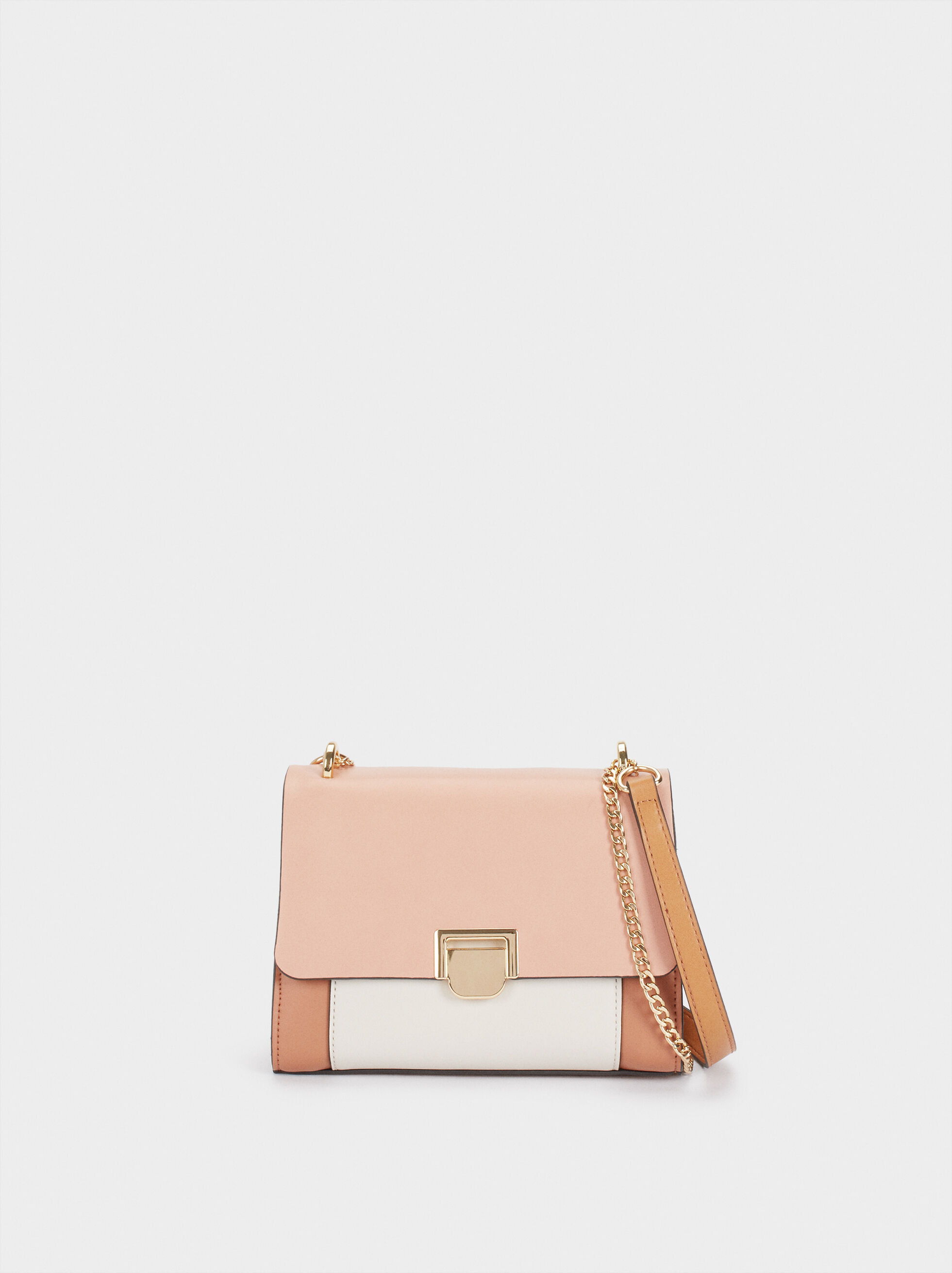 Crossbody Bag With Front Flap Fastening, Pink, hi-res