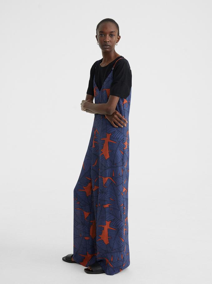 Leaf Print Strappy Jumpsuit, Blue, hi-res