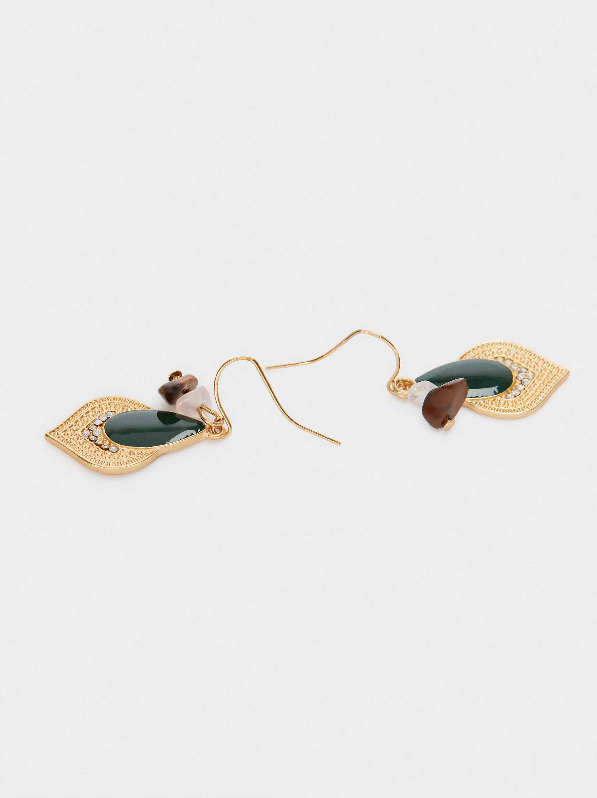 Medium Gold Earrings With Stones, Multicolor, hi-res