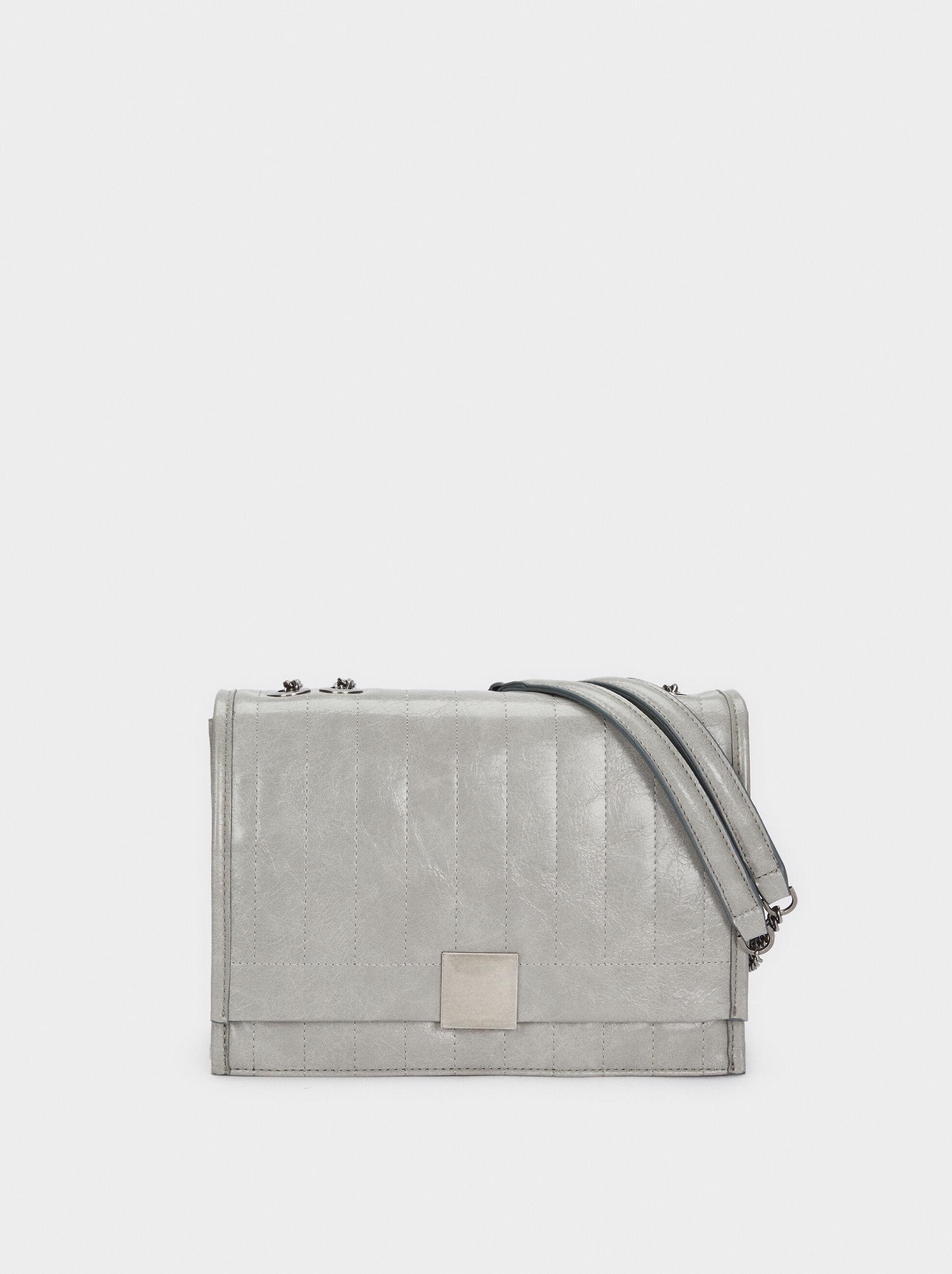 Quilted Crossbody Bag, Grey, hi-res