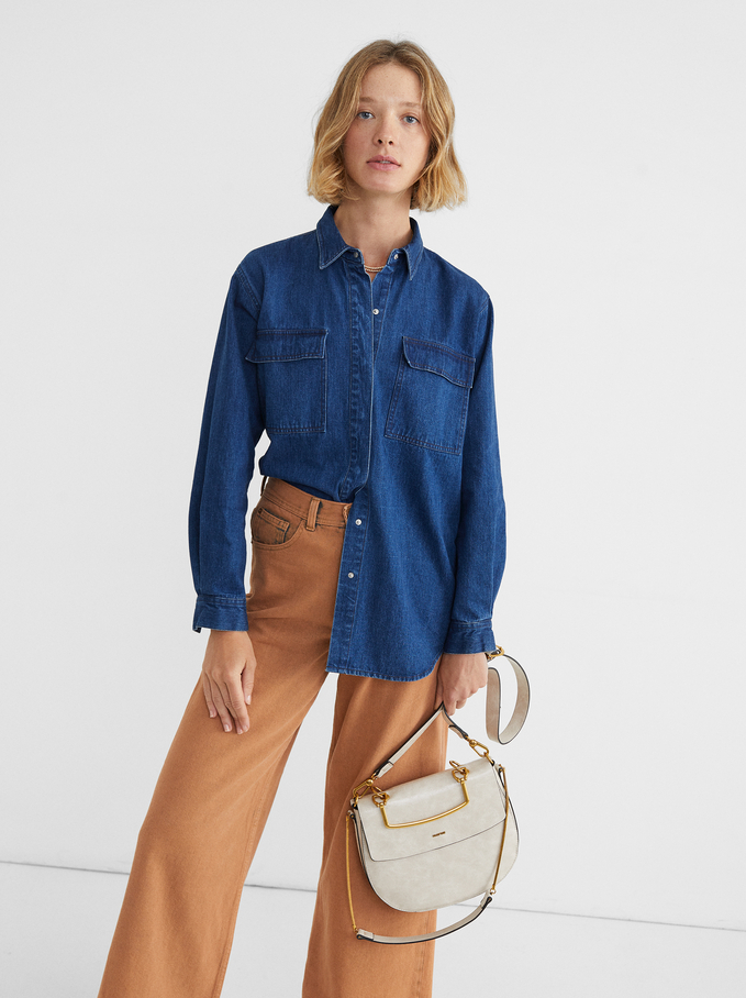 Camisa De Ganga Com Bolsos, Azul, hi-res