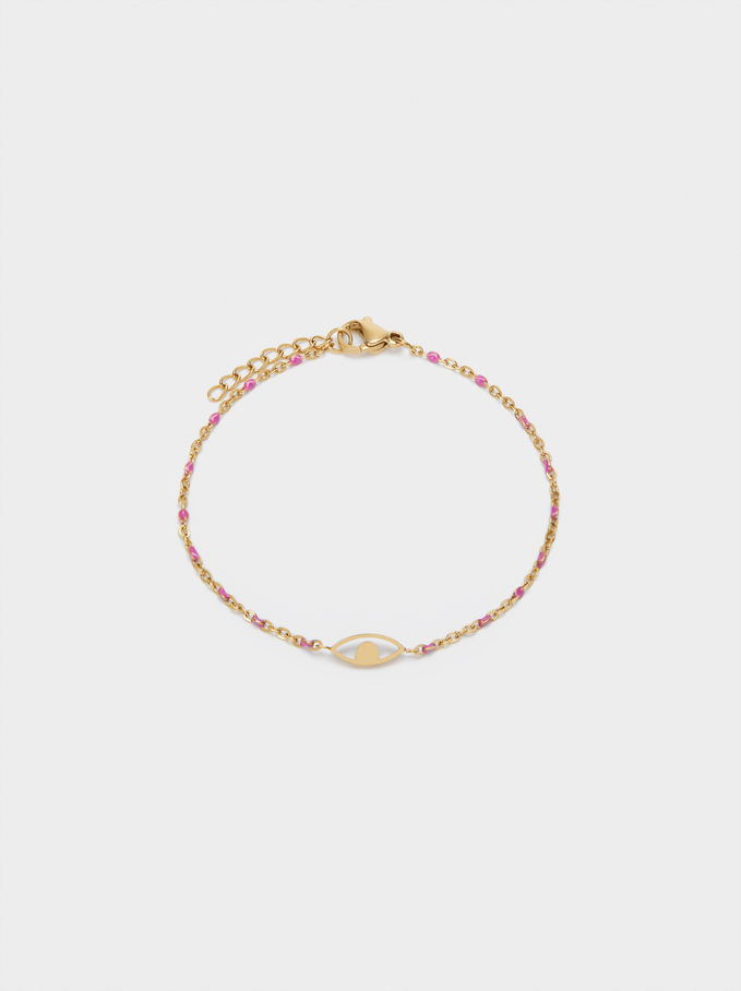 Stainless Steel Bracelet With Eye Charm, Pink, hi-res