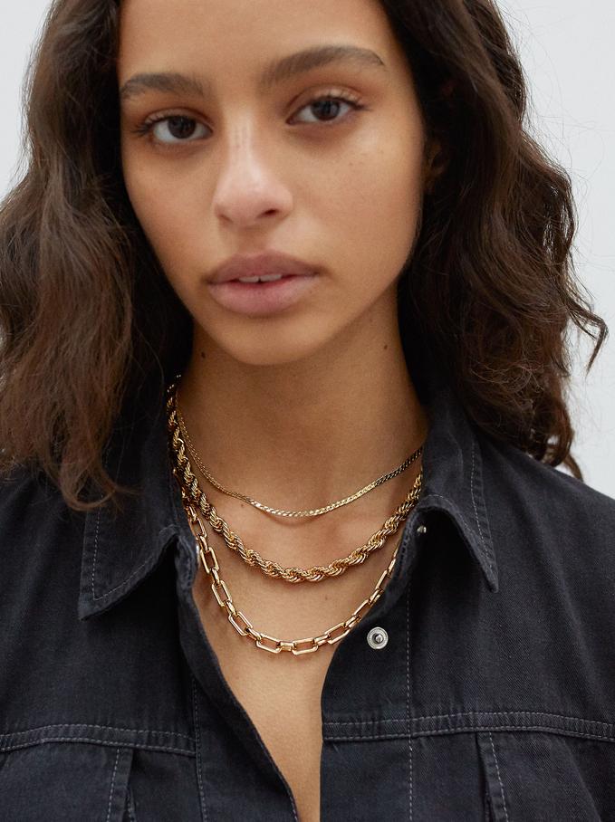 Set Halsketten Mit Goldfarbenen Kettengliedern, Golden, hi-res