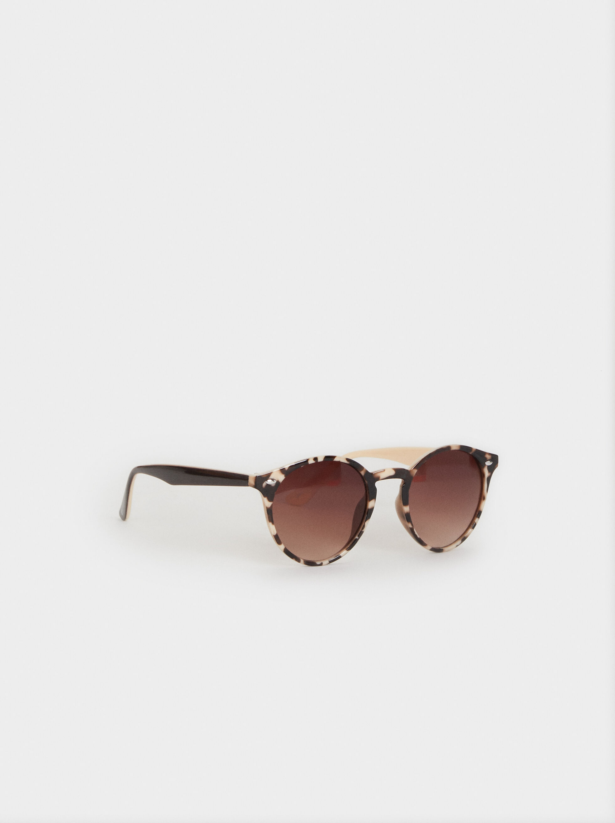 Round Sunglasses, Brown, hi-res
