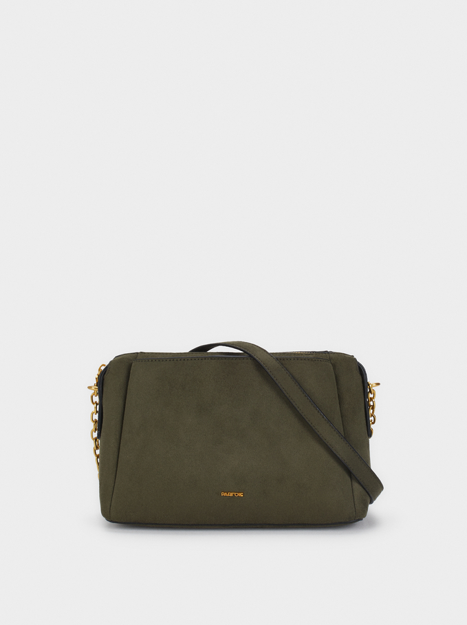 Suede Texture Shoulder Bag, Khaki, hi-res