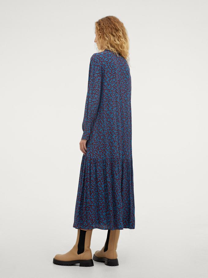 Printed Shirt Dress, Bordeaux, hi-res