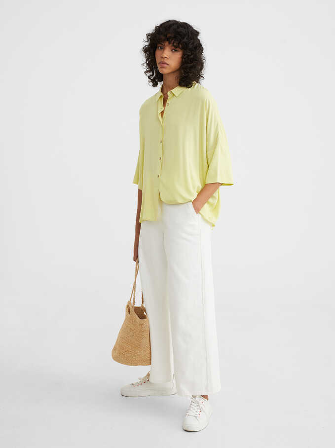Plain Oversized Shirt, Yellow, hi-res