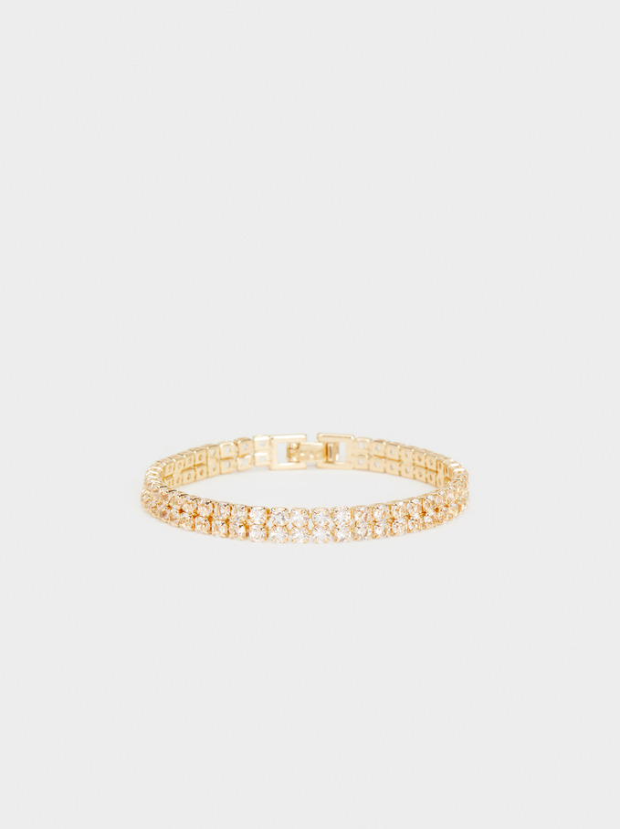 Metallic Braided Bracelet, Golden, hi-res