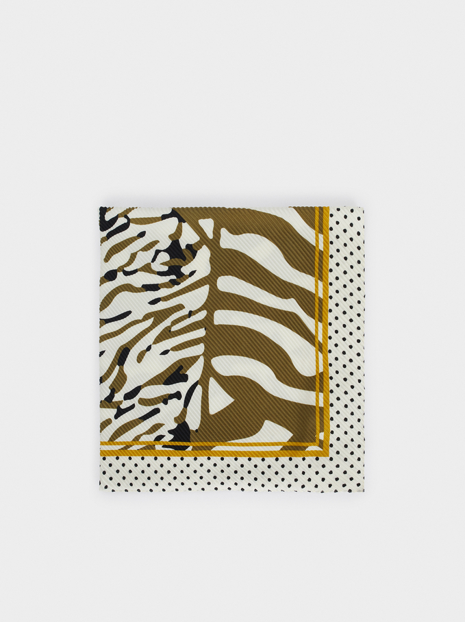 Animal Print Square Scarf, Khaki, hi-res