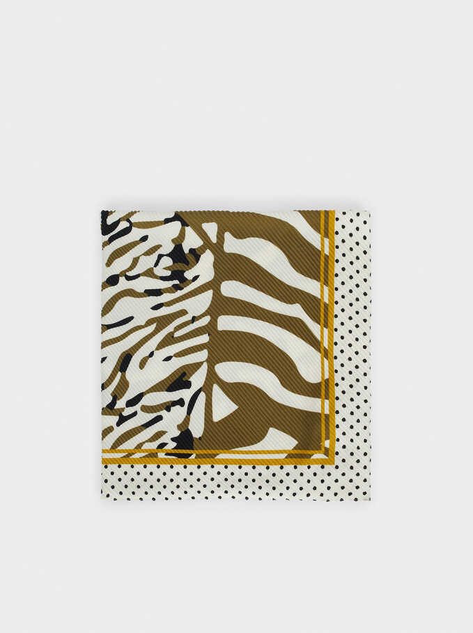 Animal Print Square Scarf, Khaki, hi-res