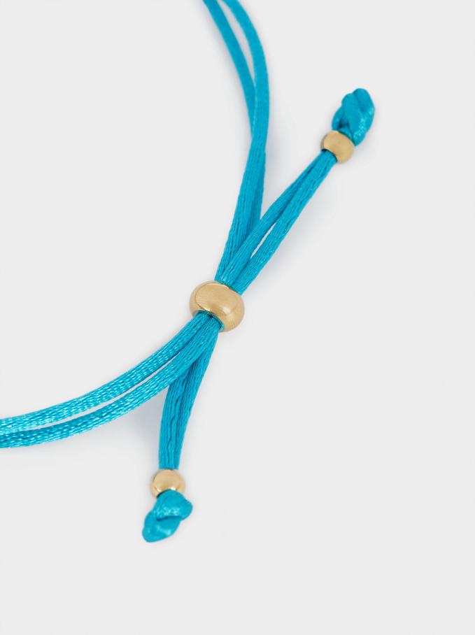 Pulsera Ajustable De Acero Charm, Azul, hi-res
