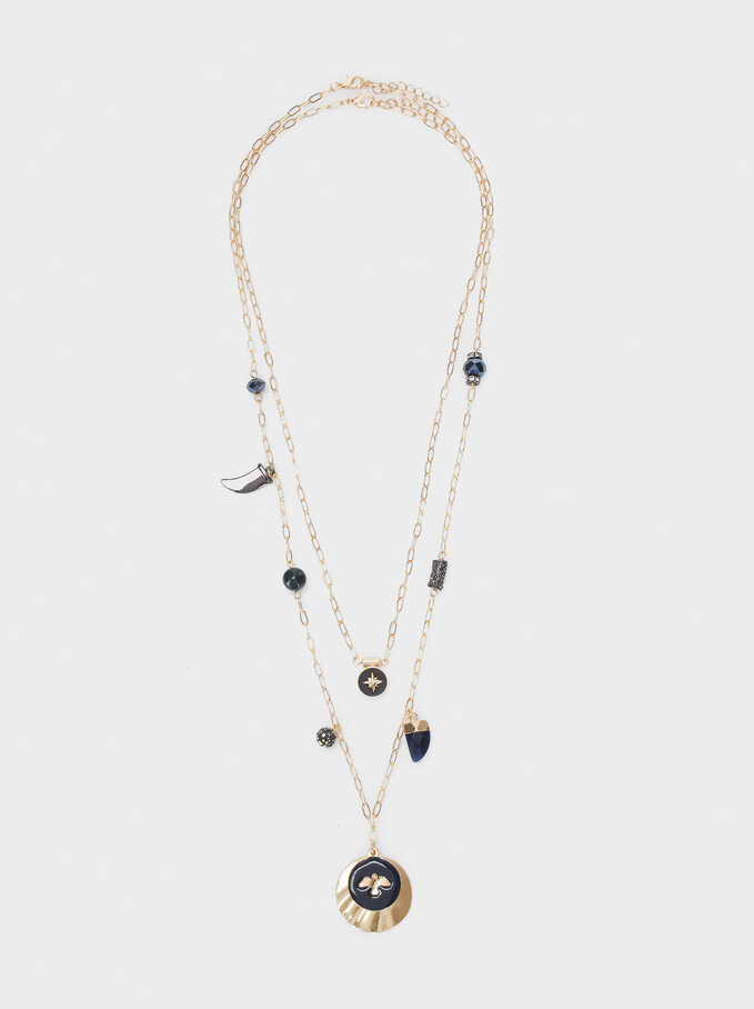 Long Double Necklace With Horns And Charms, Blue, hi-res