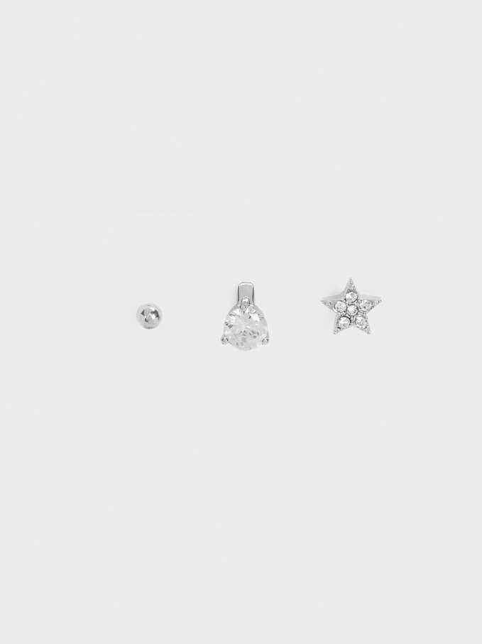 Set Of Star And Crystals Earrings, Silver, hi-res