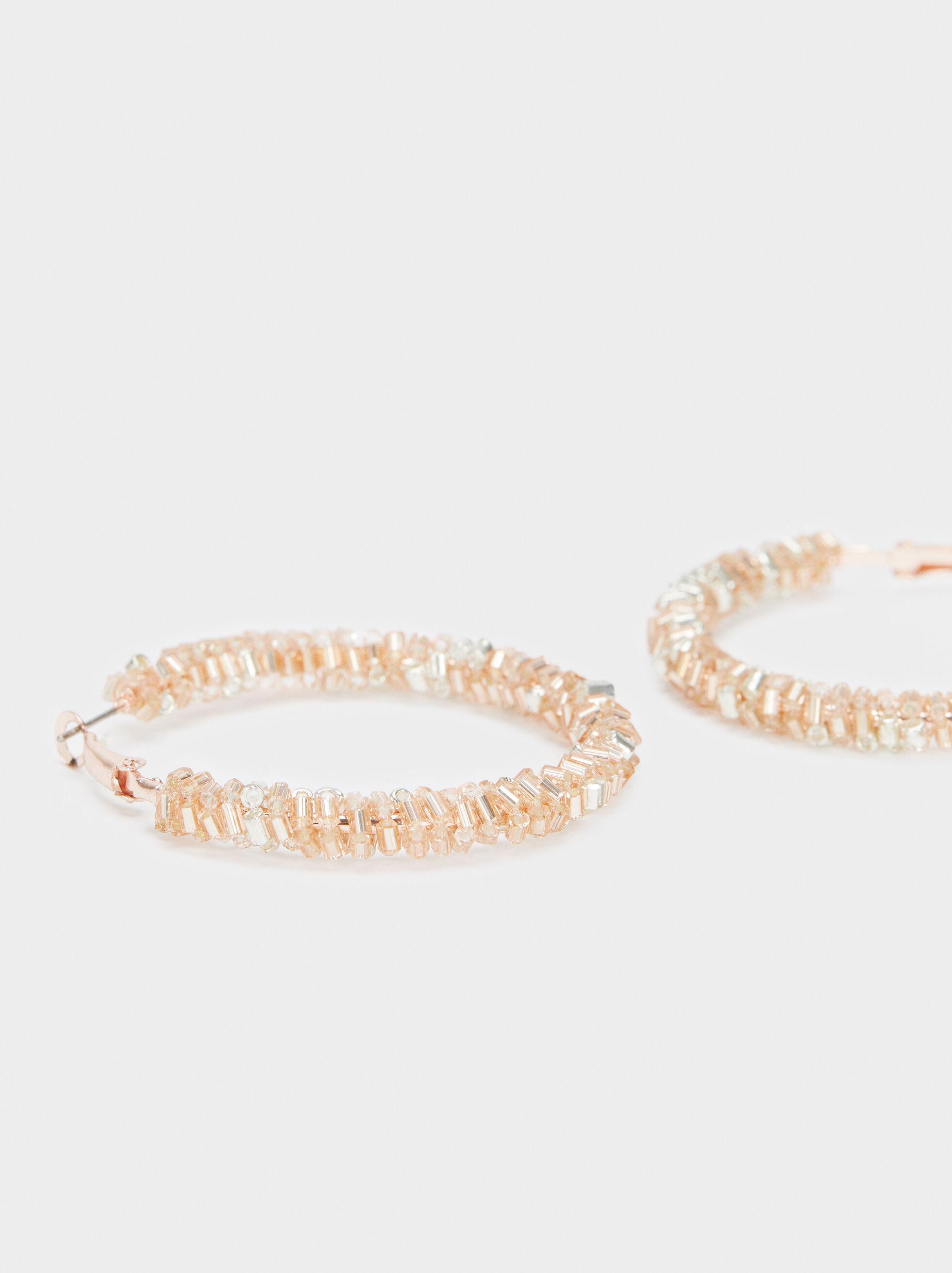 Medium Hoop Earrings With Shiny Beading, Orange, hi-res