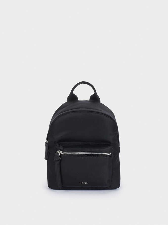 Nylon Backpack With Outer Pocket, Black, hi-res