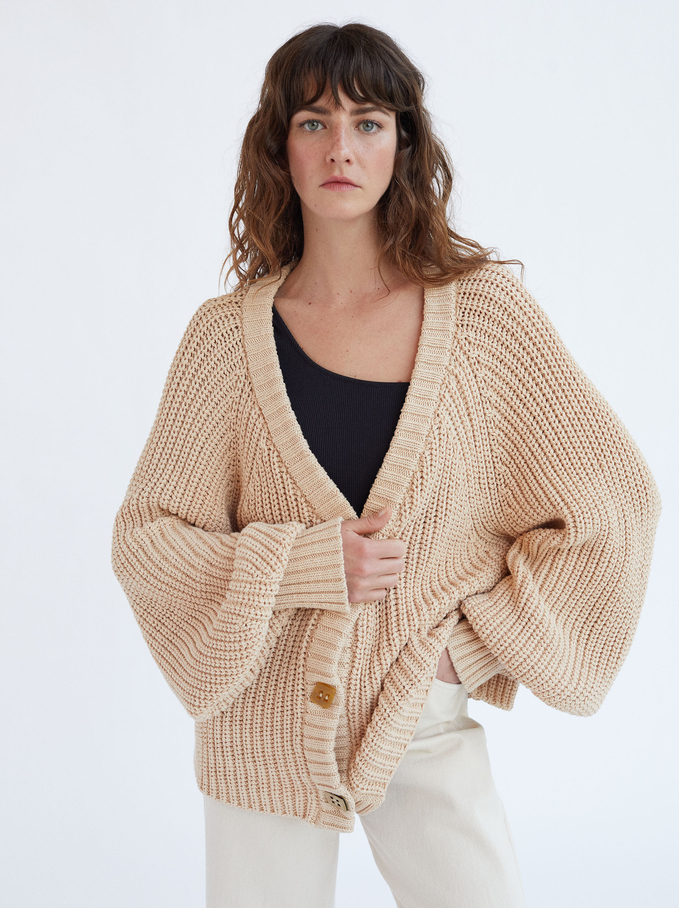 Pullover In Maglia Con Bottoni, Beige, hi-res