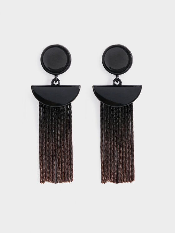 Star Dust Long Earrings With Fringing, , hi-res