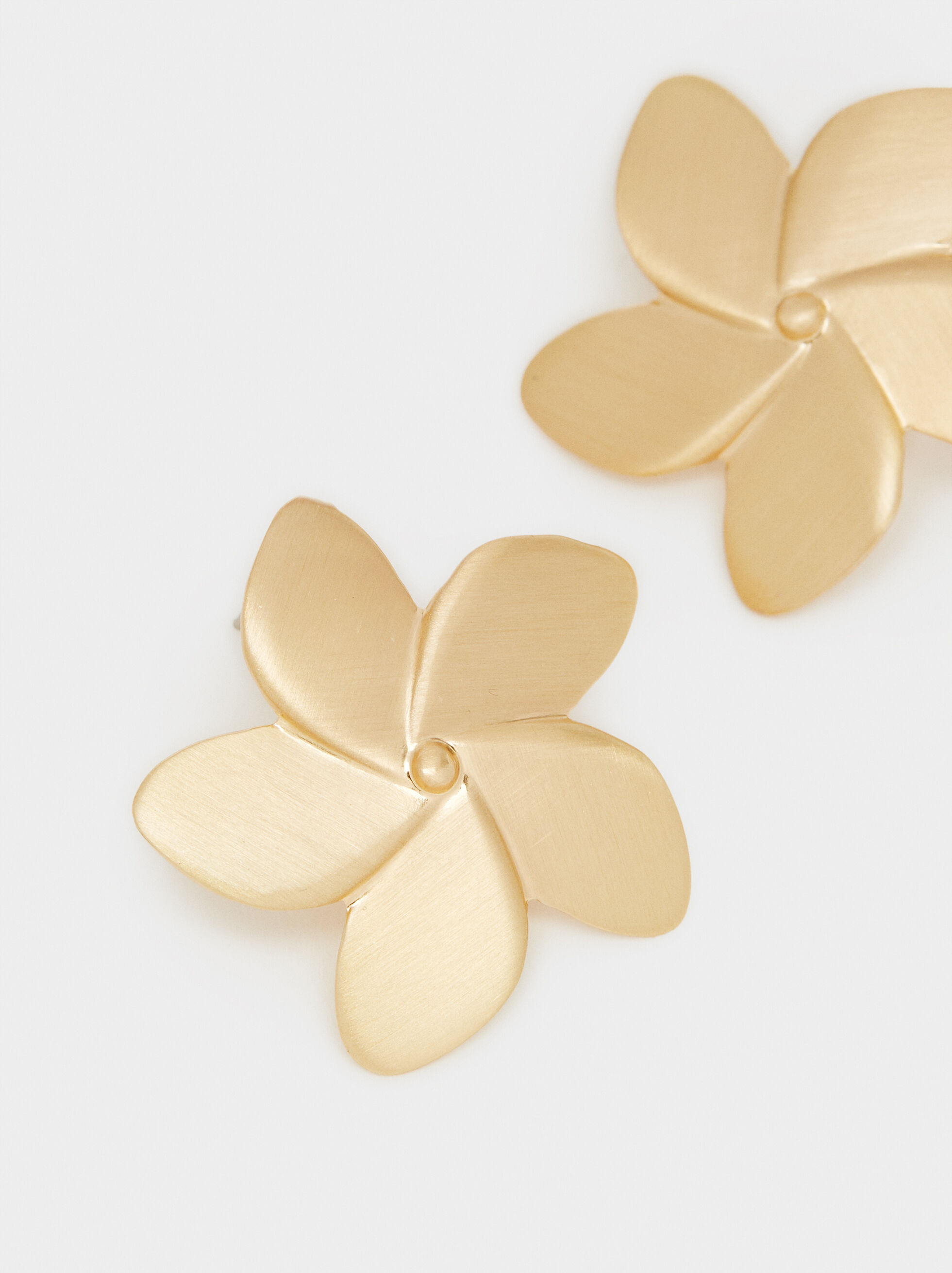Cherry Blossom Flower Stud Earrings, Golden, hi-res