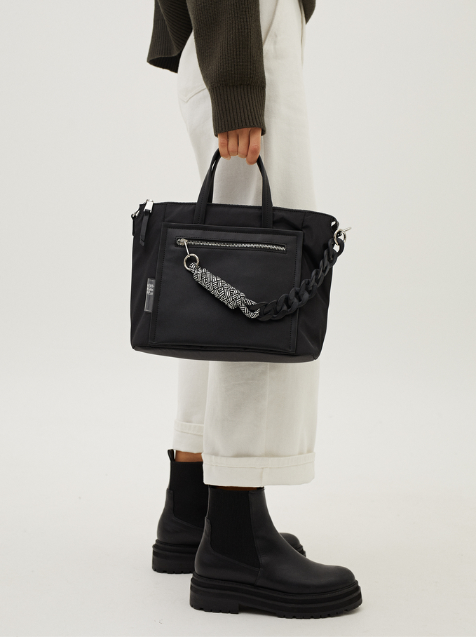 Nylon Tote Bag With Chain And Cord, Black, hi-res