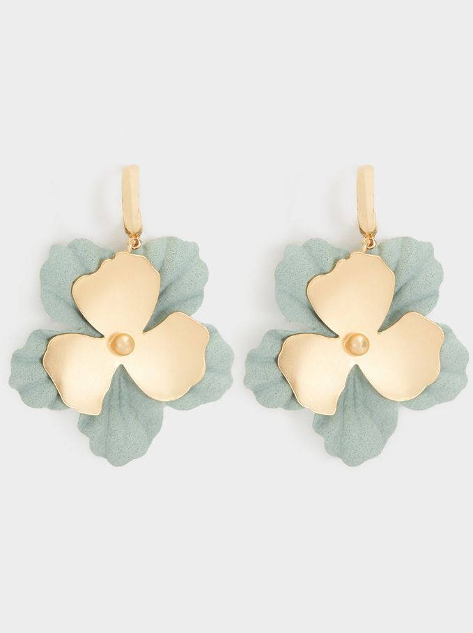 Cherry Blossom Medium Hoop Earrings, Green, hi-res