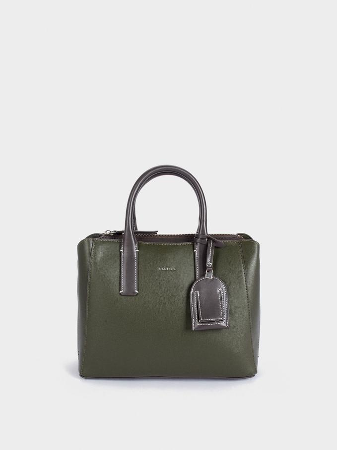 Shopper Bag With Multi-Way Handle, Khaki, hi-res