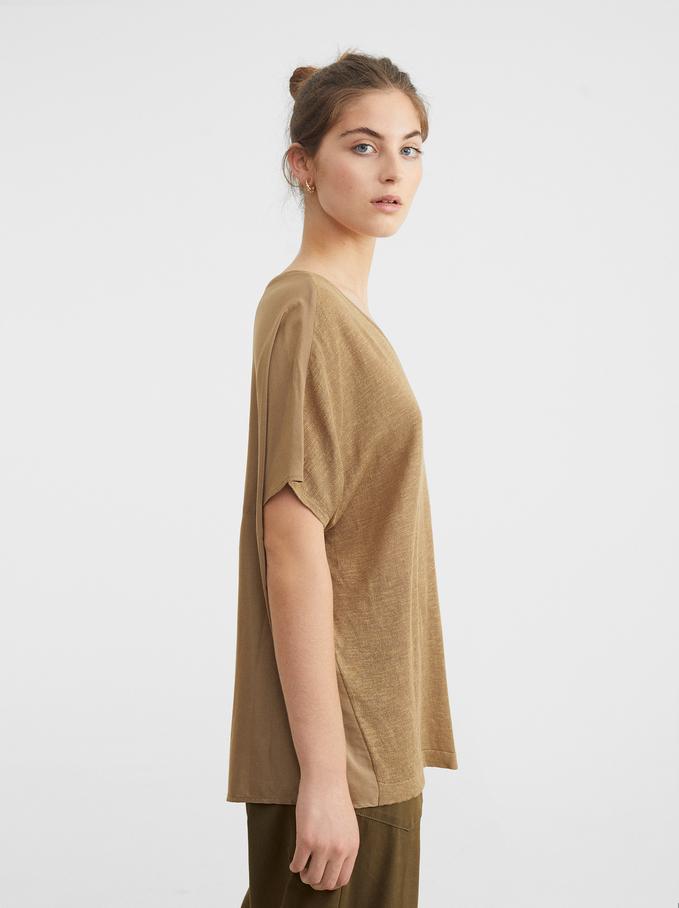 V-Neck Dress, Beige, hi-res