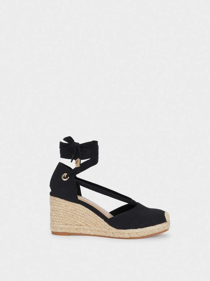 Sandales Compensées Lanières, Noir, hi-res