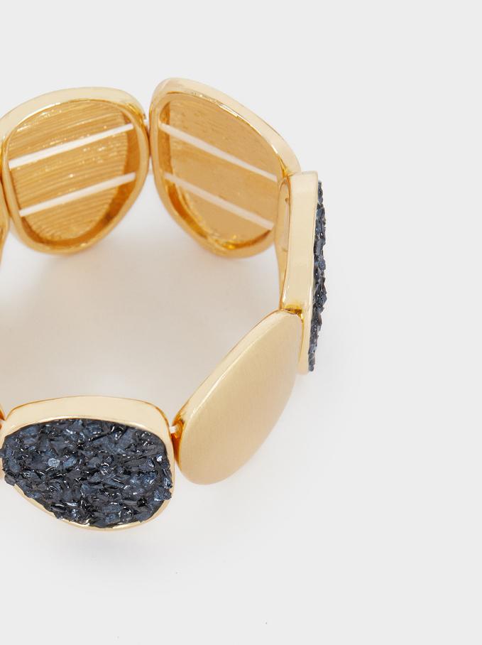 Elastic Bracelet With Crystals, Blue, hi-res