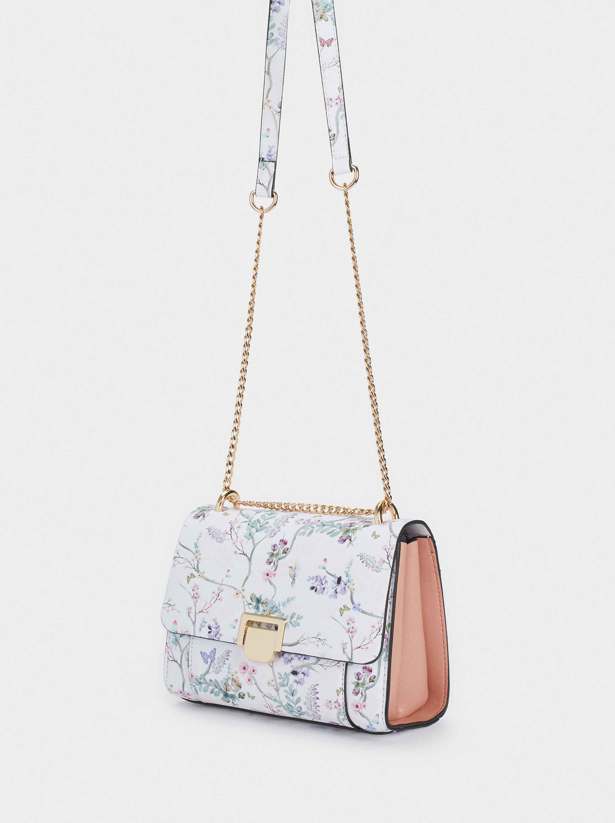 Floral Print Crossbody Bag With Front Flap Fastening, Violet, hi-res
